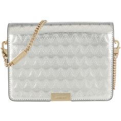 Michael Kors Shoulder Bag - Jade MD Gusset Clutch Champagne - in... (£210) ❤ liked on Polyvore featuring bags, handbags, clutches, silver, shoulder tote handbags, metallic clutches, silver evening clutches, shoulder handbags and purse tote