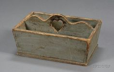 Gray-painted Pine Cutlery Box with Cut-out Heart probably New England.