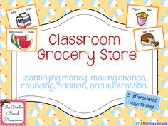 Classroom grocery store is a fantastic math activity! It can be played throughout the elementary grades! The variations included focus on the following topics: identifying money, making change, rounding, addition, and subtraction. $4.00 - The Center Based Classroom