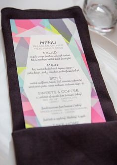 This is a pretty wedding menu. A stationery set of this would be so pretty!