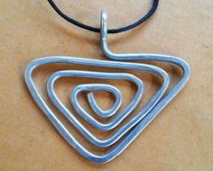 Triangle Spiral Big Pendant Necklace Pryamid by nicholasandfelice