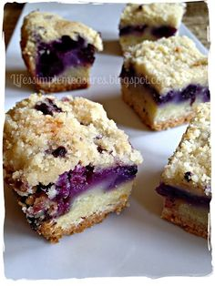 Blueberry Pie Bars. My bars were sweet and looked like they had more berries than the picture and took a little longer to cook than the recipe said even cooked in a convection oven. Yummy.