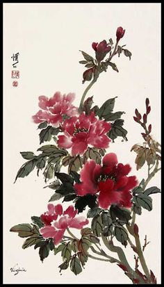 I LOVE this color! I would want my watercolor peonies to be more of this shade Sumi E Painting, Peony Painting, Japan Painting, China Painting, Asian Flowers, Chinese Flowers, Japanese Art Prints, Chinese Prints, Chinese Painting Flowers