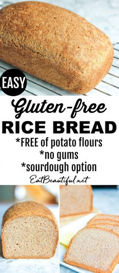 Gluten-free Rice Bread makes wonderful sandwich bread or toast great with or for any meal of the day a versatile loaf that's easy to make! (No potato gums or yeast. Gluten Free Grains, Gluten Free Rice, Gluten Free Baking, Gluten Free Recipes, Dairy Free, Gf Recipes, Lactose Free, Family Recipes, Healthy Baking