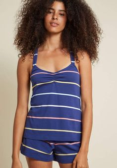 e75d26f40f ModCloth Ladylike Lounger Pajamas in Stripes in XL - Racerback Short Length
