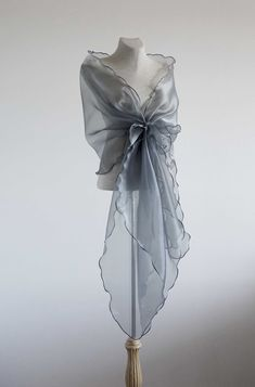 Gray/silver Evening design elegant shawl.Cover up,organza shawl. by lolablooming on Etsy
