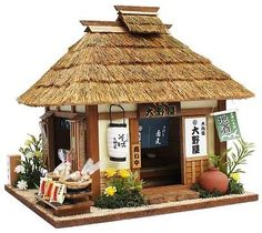 Japanese doll house nostalgic miniature model soba noodle shop handmade Showa