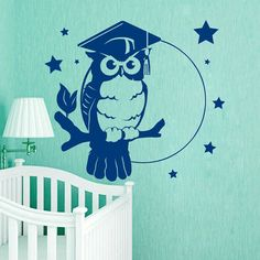 Owl Wall Decals Good Night Bird On Branch by WallDecalswithLove