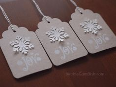 Paper Snowflake Holiday Hang Tags Gift Tags Set of 6 Joy Hand Stamped Large Chipboard from BubbleGumDish. Christmas Gift Tags, Christmas Holidays, Christmas Things, Christmas Ideas, Wrapping Ideas, Gift Wrapping, Handmade Tags, Paper Snowflakes, Christmas Scrapbook