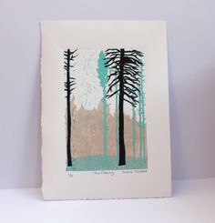 linocut tree clearing A personal favourite from my Etsy shop https://www.etsy.com/uk/listing/270608736/the-clearing-linocut-print