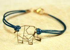 ♥ Kleiner Elefant ♥ Origami Leder Armband # von ♥ Karamboola Noir ♥ auf DaWanda.com