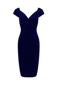 Navy Velour Crossover Wiggle Dress