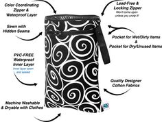 Planet Wise Wet/Dry Bags - we use these for our cloth diapers but they also make great travel items. Inner pocket for wet/dirty items and outer pocket for dry/clean items. Great construction on the bag and holds in odors well.