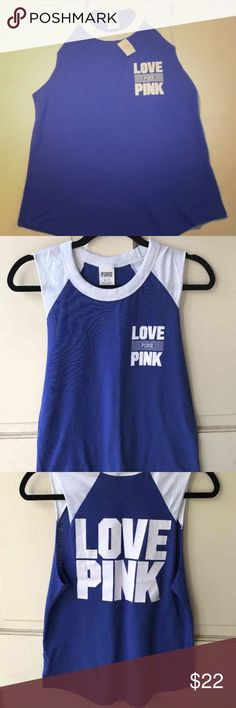 {PINK VS Muscle Tank Top} NWT blue and white PINK muscle tank. Lightweight perfect for layering. Loose fit and so soft. Size medium. All original tags attached! PINK Victoria's Secret Tops Tank Tops