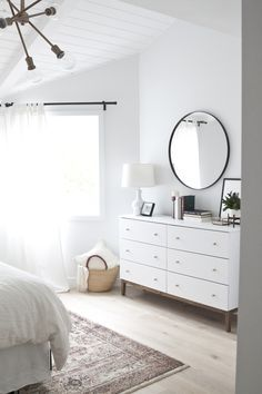 minimalist and modern, white and bright bedroom design