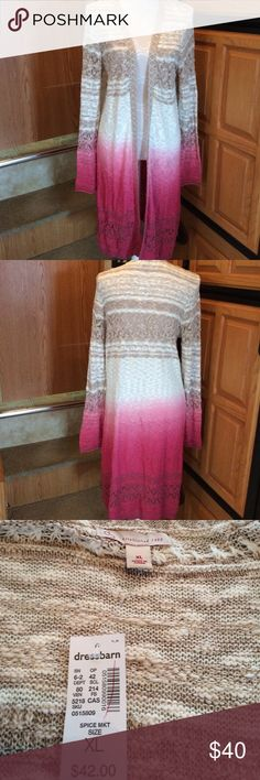 Dressbarn ombré Sweater Duster Jacket XL NWT New with tags. Measures approximately 37in long. I do NOT trade. Dress Barn Sweaters