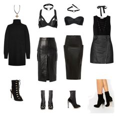 """""""Goth npc's"""" by diablana on Polyvore featuring Miss Selfridge, Topshop, Truffle, Gyunel, Balmain, L'Agent By Agent Provocateur, Chantal Thomass, Equipment, Steve Madden and Alexander McQueen"""