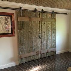 Barn doors made of recycled weathered barn wood. #barn #doors #reclaimed #wood #diy