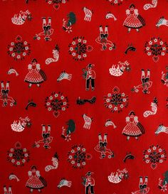 Charming vintage fabric, red folk art print with chickens, sheep and farm animals, over 1 yard
