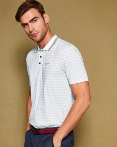 Large spot print polo shirt - White | Tops and T-shirts | Ted Baker ROW