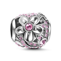Whether you are looking for a sweet gift to give a special someone in your life, or if you are looking to add a lovely touch of pink to your charm bracelet, the Romantic Flower Charm is a must for your jewelry box. This is a sterling silver bead that Romantic Flowers, Silver Charms, Swarovski Crystals, Jewelry Box, Charmed, Sterling Silver, Pink, Gifts, Nature