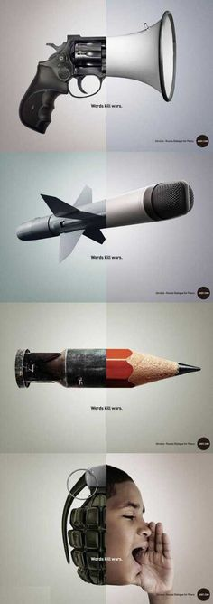 Excellent creative advertising against war. Words kill wars Intetemos talk and not destroy each other because they always innocent fall by the wayside. Creative Advertising, Advertising Design, Advertising Ideas, Ads Creative, Social Advertising, Creative Ideas, Advertising Campaign, Advert Design, Guerrilla Advertising