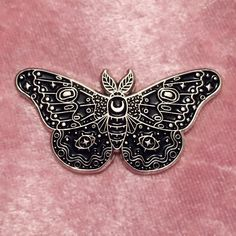 Caitlin Stout — Moth Black Enamel Pin