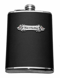 """Hair of the Dog Flask by 2BhipFlasks. $24.99. Brand New  Hair of the Dog Flask  Stainless Steel  8 oz Flask with Black Leather and Red Rhinestones! Size: 4"""" x 6"""" Funnel not included"""