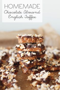 This Chocolate Almond English toffee is highly addicting. It's a deep buttery toffee crunch with roasted almonds and a layer of chocolate and walnuts on top and it makes the perfect DIY gift!