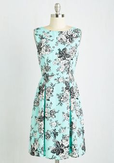To Boldly Grove Dress - Mid-length, Woven, Blue, Black, Floral, Print, Daytime Party, A-line, Sleeveless, Summer, Good