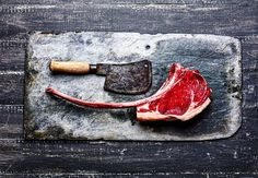 Raw. Prime-grade. 28 day dry-aged. Bone-in & frenched. Rib eye. Steak…