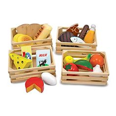 Melissa & Doug Food Groups - Wooden Play Food, Pretend Play, 21 Hand-Painted Wooden Pieces and 4 Crates, H x W x L: Melissa & Doug: Toys & Games Five Food Groups, Group Meals, Wooden Basket, Wooden Crates, Grill Set, Wooden Play Food, Play Food Set, Pretend Food, Pretend Play Kitchen
