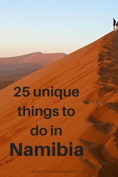 Discover 25 unique things to do in Namibia! From adrenaline adventures to sunrise on Sossusvlei and desert walking tours, Namibia offers a lot! Cool Places To Visit, Places To Travel, Travel Destinations, Holiday Destinations, Safari, Travel Guides, Travel Tips, Travel Around The World, Around The Worlds