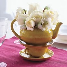 flowers in teapots
