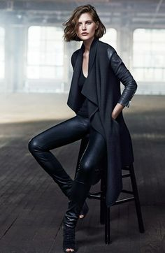 Donna Karan Collection Leather Sleeve Boiled Cashmere Coat | Nordstrom THiS IS a realtor power suit!!! I could conquer the world in this outfit! A little like bat woman really.