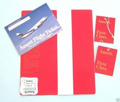 ANSETT AIRLINES, FIRST CLASS TICKET WALLET, BAG TAGS and TICKET