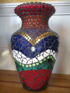 """Mosaic urn (30"""" x 15"""") by JaYing Wang www.ArtisticHomeStudio.com"""