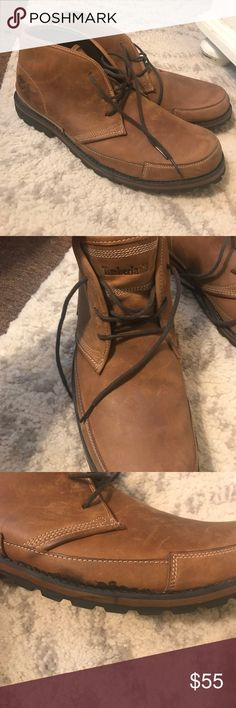 Men's timberland boots Gently used worn a hand full of times boot. Nice light brown. Goes with so much. On the side of each boot there are a subtle line where the rubber rubbed the leather but when wearing it you can't even see it but I posted a picture for you to see. Great shoe my boyfriend just got a darker pair Timberland Shoes Boots