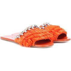 Miu Miu Embellished Slides ($1,025) ❤ liked on Polyvore featuring shoes, flat, orange, sandals, miu miu, orange flat shoes, flat footwear, miu miu shoes and decorating shoes
