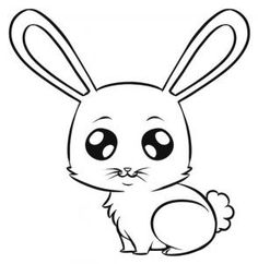 how to draw an easy bunny; I'd probably change the eyes though and make the ears look more furry.