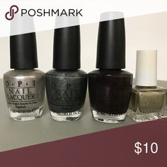 Nail Polish Bundle- Metallics A bundle of 4 metallic nail polishes, including OPI Birthday Babe (silver), OPI Brand New Skates (gunmetal grey), OPI Tease-y Does It (burgundy), and Pantone + Sephora Olive Gray (grayish gold). All are barely used, if at all. Great condition with full amounts of product left. OPI Makeup
