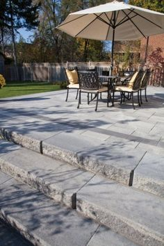 STAIRS Unilock paver patio with Umbriano and steps