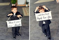 ring bearer walking with here comes the bride sign in church ceremony ---love this idea!!