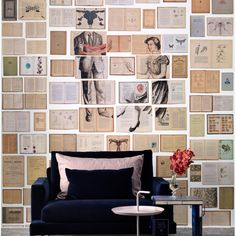 Biblioteca Wallpaper Mural 4 by Ekaterina Panikanova - The middle of this wallpaper is a mural of 3 drops.