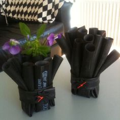 Rubber vases made from inner tube. Use it for flowers, pencil, makeup brushes or tooth brushes.