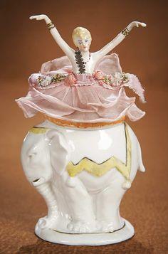 The Vanity Fair - Strong Museum Half Dolls: 353 German Porcelain Half Doll Powder Puff