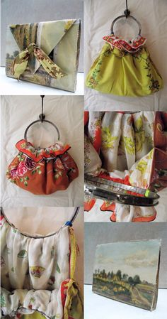 feminine handmade bags from embroidered linens, silk scarves and handles made from metal embroidery hoops