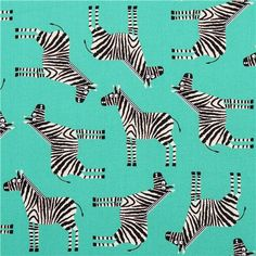 turquoise Jungle Party zebra animal fabric by Robert Kaufman