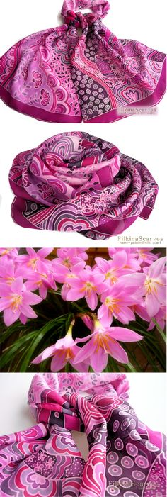 @FilkinaScarves . Etsy . Hand painted silk scarf Pink silk scarf Purple scarf Abstract floral Habutai Luxury scarves Unique Batik Gentle scarf silk painting FS 38