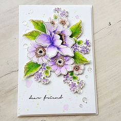 Garden Treasure' Stamp and Die Sets by @altenewllc and watercolored all pieces in different shades of purple, green and light pink. Some matching ink splatters and clear sparkling sequins gives the final touch